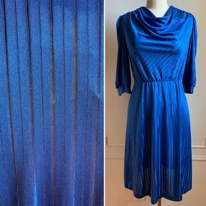 Vintage 80s Blue Striped Cowl Dress